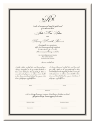 Wedding Marriage Certificate - Traditional Monogram
