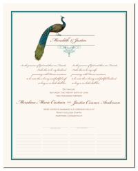 Marriage Certificate with Birds