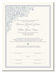 Marriage Certificate with Snowflakes
