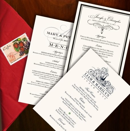 shop wedding menu cards dinner party menus explore wedding menu card ...