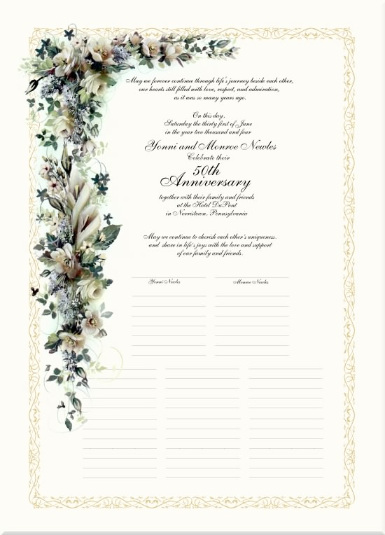 Wedding Anniversary Certificates 50th Calligraphy Golden Traditions Monograms