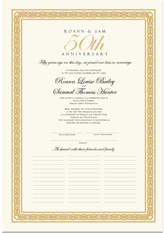 50th Wedding Anniversary Gift Certificate Template : Wedding Anniversary Certificates-50th Anniversary-Calligraphy-Golden ...