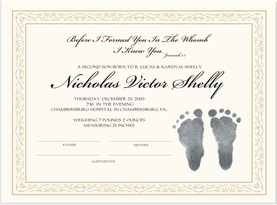 Custom Birth Certificates-Personalized Birth Certificates