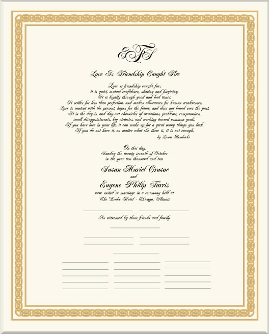 Celtic Weave Wedding Certificate Marriage Certificate Victorian