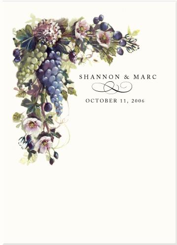 Vineyard Wedding Programs Grapes Fruit Illustrations Pear