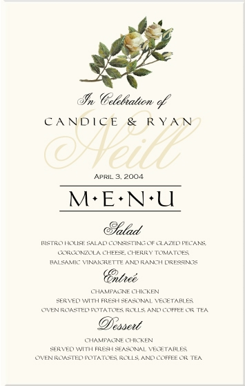 Menu Card Old Script Watermark Monogram Imperial Text