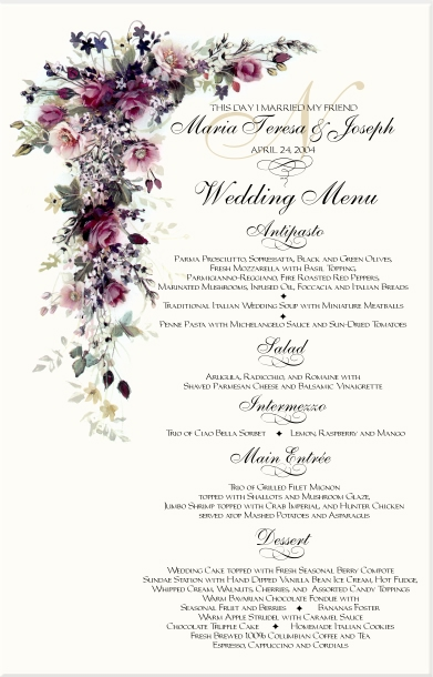 Red Rose Cascade Wedding Program Examples Catholic Wedding