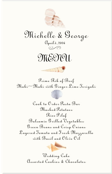 Menu Ideas Sample Wedding Menu Ideas