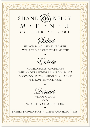 Celtic Wedding Menu Cards-Irish Wedding Products-Scottish Wedding