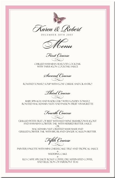 handmade menu card