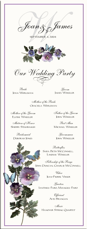 Wedding programs wedding directories order of service church skinny card program junglespirit Images