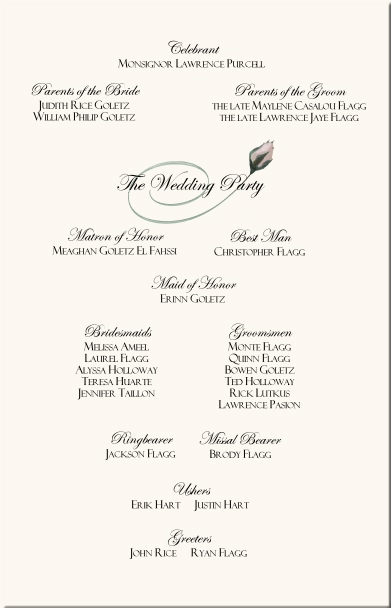 Rose Wedding Program Examples-Wedding Program Wording-Wedding