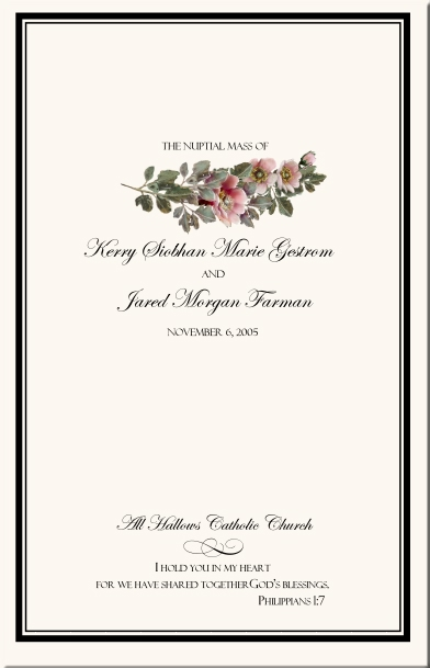 rose wedding program examples