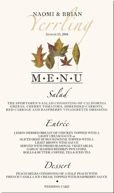 fall wedding menu cards