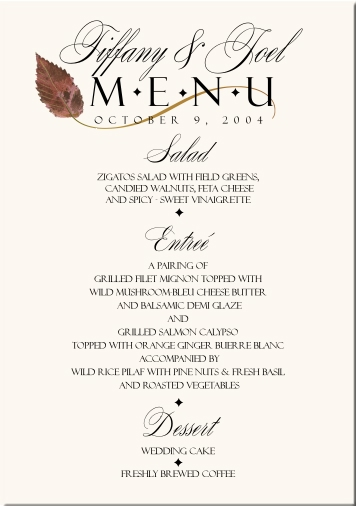 fall wedding menu cards autumn theme wedding menu cards fall wedding