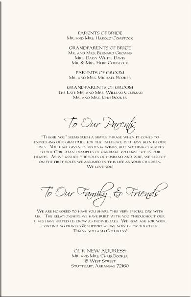 Wedding Program Verses