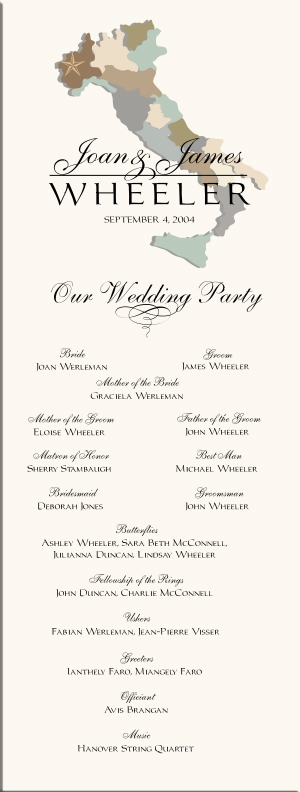 Italian wedding programs wedding directories order of service wedding ceremony programs are a way to introduce the wedding party list readings and readers explain traditions and give thanks and acknowledgement to junglespirit Image collections