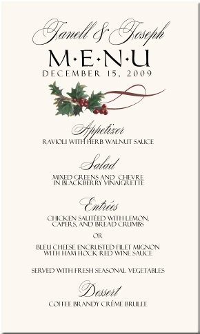 Winter Theme Wedding Menu Cards Snowflake Wedding Menu