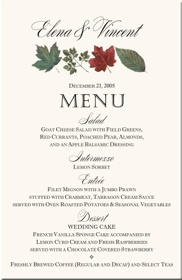 winter theme wedding menu cards snowflake wedding menu cards