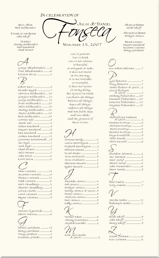 Freehand scriptina monogram wedding seating charts wedding
