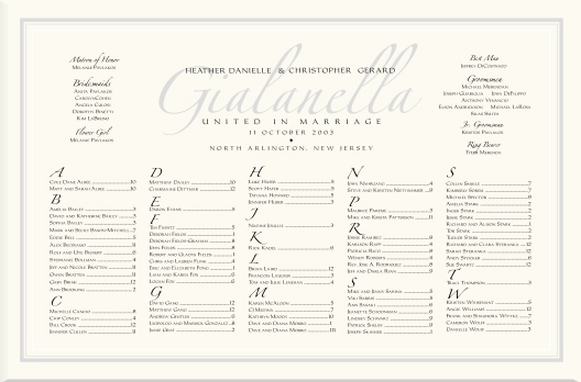 Table Seating Chart For Wedding Reception Imperial Zapfino Monogram Charts