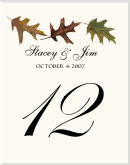 Maple Leaf Wedding Table Number