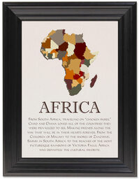 Framed Photograph of Map of Africa 2 Memorabilia Cards