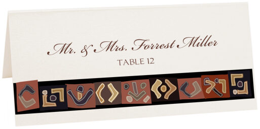Photograph of Tented African Kuba Pattern 2 Place Cards