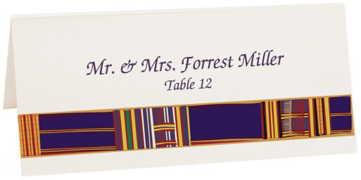 Photograph of Tented Asante Kente Place Cards