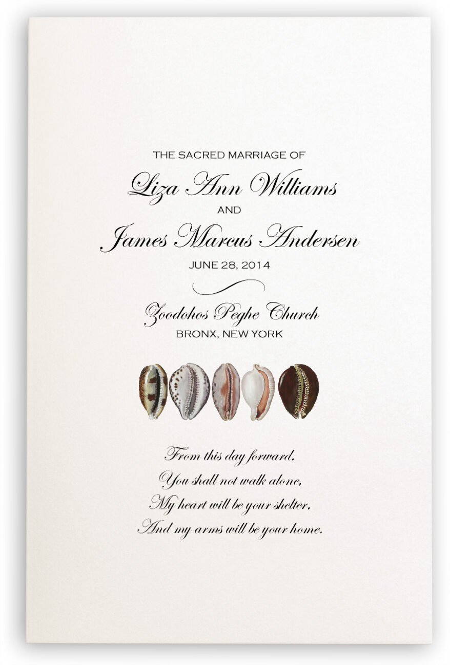 Photograph of African Cowry Shell Wedding Programs