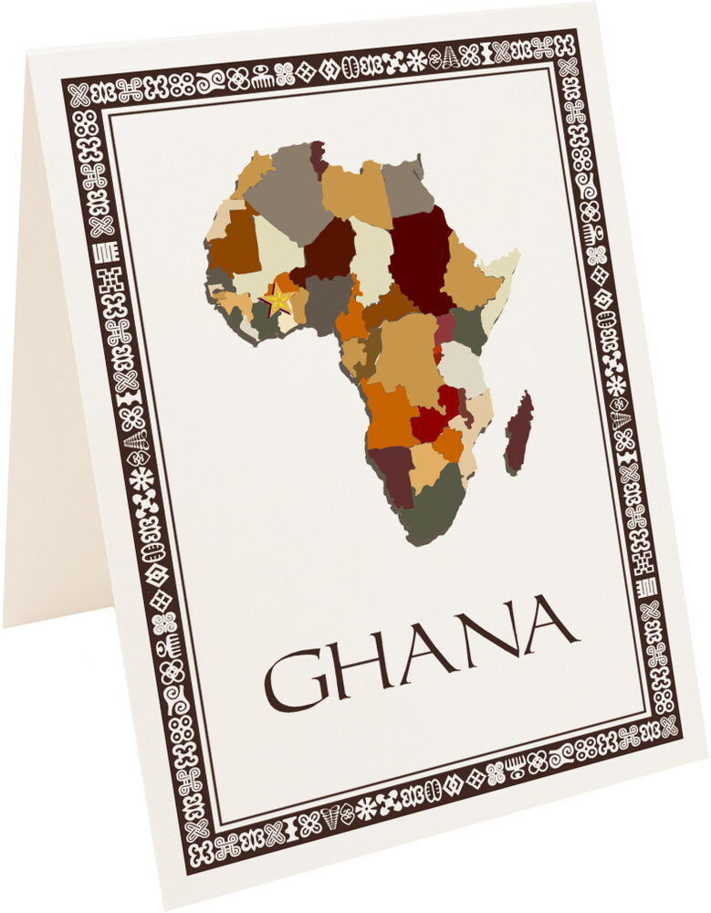 Photograph of Tented African Map Table Name with Adinkra Border Table Names