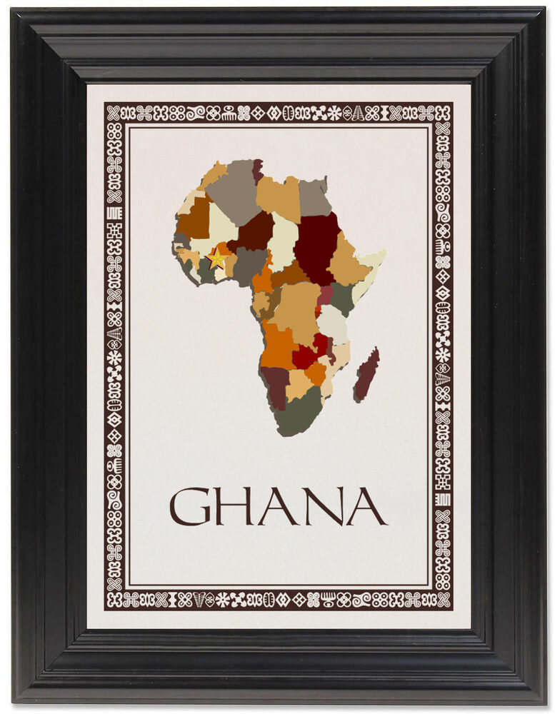 Framed Photograph of African Map Table Name with Adinkra Border Table Names