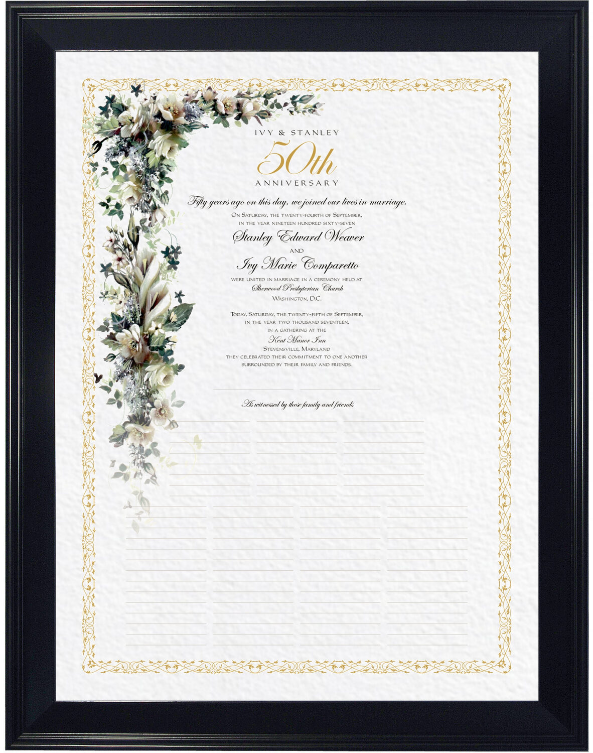 Photograph of Calla Lilies and Gardenias Wedding Certificates