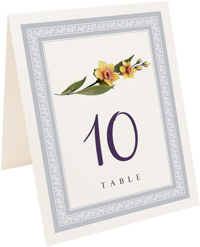 Photograph of Tented Traditional Flowers Table Numbers