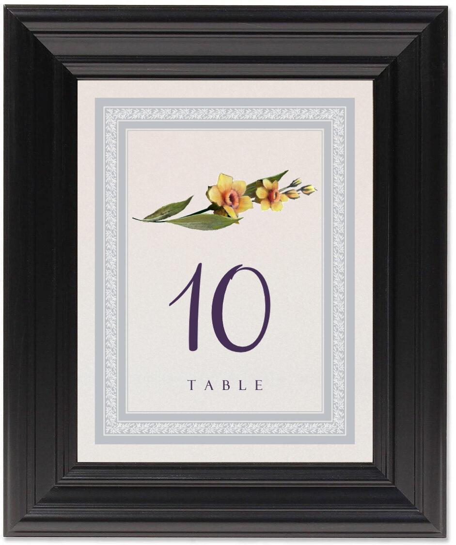 Framed Photograph of Traditional Flowers Table Numbers