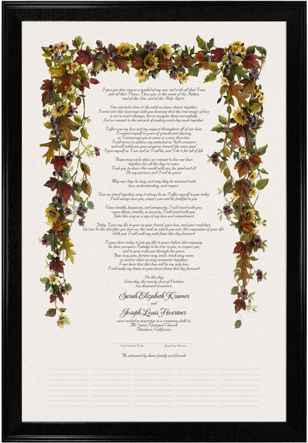 Photograph of Autumn Leaves and Sunflowers Wedding Certificates