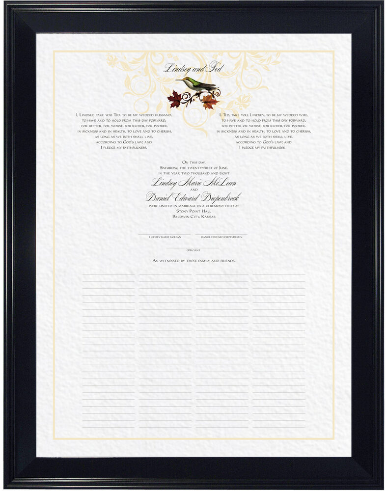 Photograph of Fall Indy Flourish Wedding Certificates