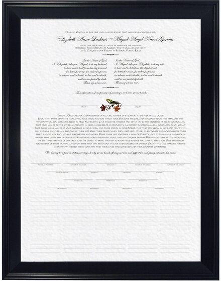 Photograph of Fall Indy Wedding Certificates