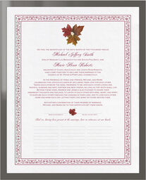 Photograph of Tri Maple Leaf Pattern Wedding Certificates