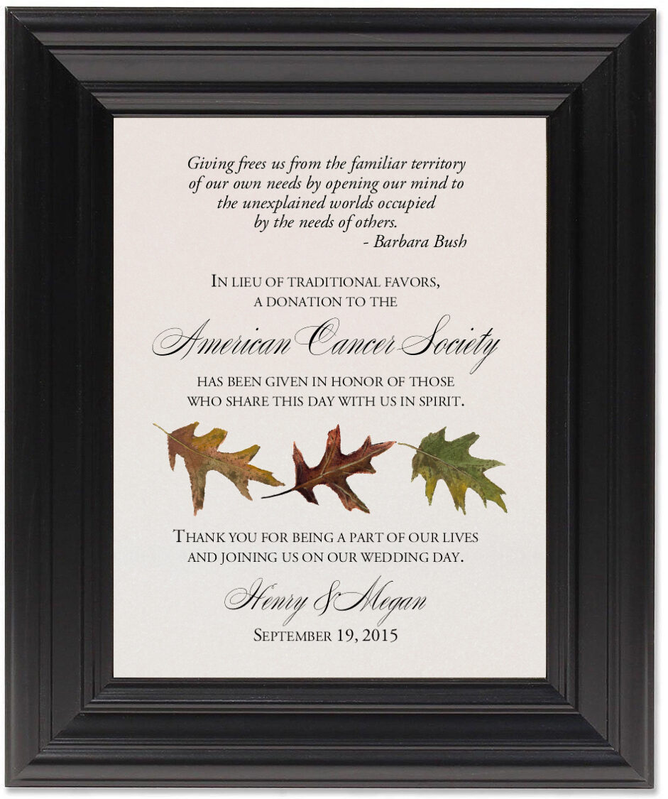Framed Photograph of Leaf Pattern Assortment Donation Cards
