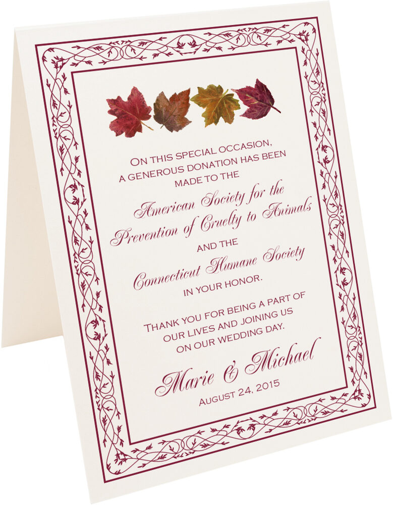 Photograph of Tented Maple Leaf Pattern Donation Cards