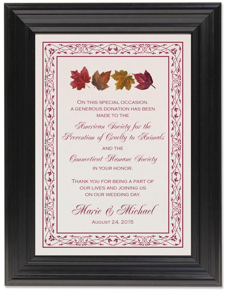 Framed Photograph of Maple Leaf Pattern Donation Cards