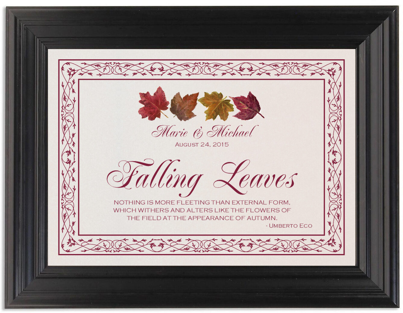 Framed Photograph of Maple Leaf Pattern Memorabilia Cards