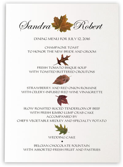 Photograph of Colorful Leaves Assortment Wedding Menus