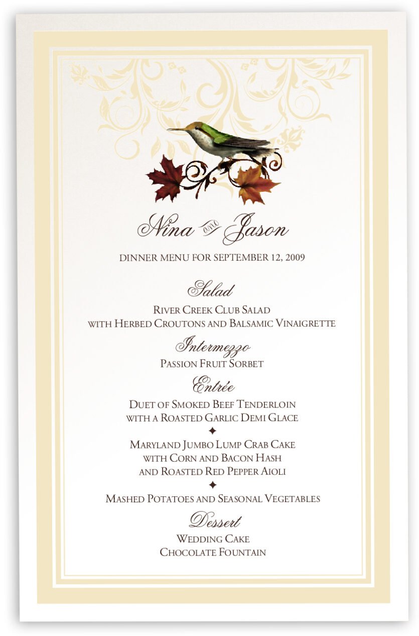 Photograph of Fall Indy Flourish Wedding Menus