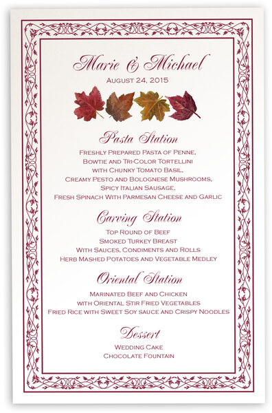 Photograph of Maple Leaf Pattern Wedding Menus