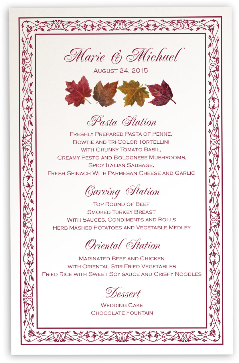Maple Leaf Pattern Autumn Wedding Menu Cards And Fall