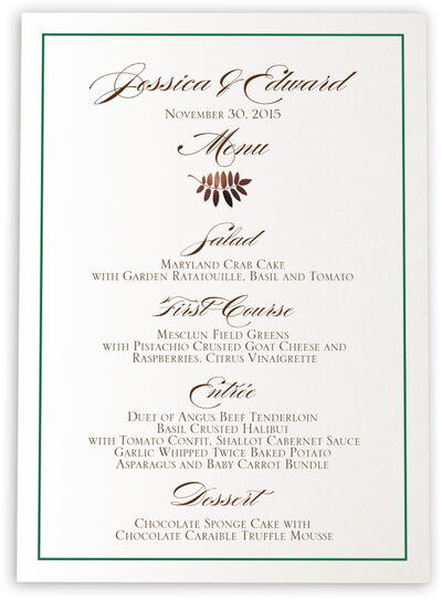 Photograph of Peaceful Autumn Wedding Menus