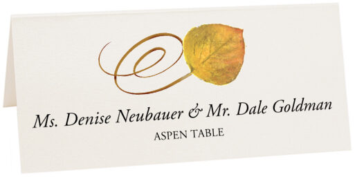 Photograph of Tented Aspen Swirly Leaf Place Cards