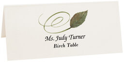 Photograph of Tented Birch Swirly Leaf Place Cards